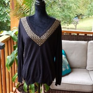 UEC Michael Kors black sweater with gold details